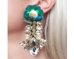 Reema Earrings Iridescent Green with Green Sequin Flower