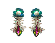 Reema Earrings Ruby Red with Green Sequin Flower