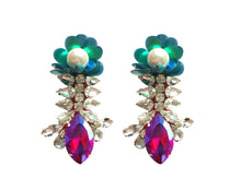 Reema Earrings Iridescent Blue yellow with Green Sequin Flower