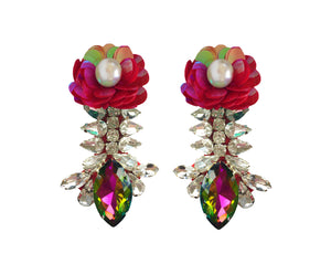 Reema Earrings Iridescent Green with Red Sequin Flower