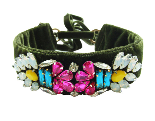 Luxury choker in olive velvet, embroidered with colourful rhinestones