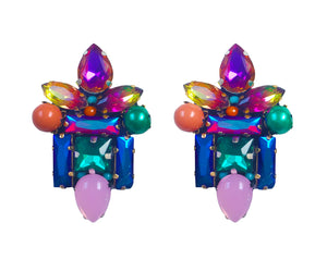 Colourful Thea earrings by Jolita Jewellery, embellished with vibrant crystals and faux pearls