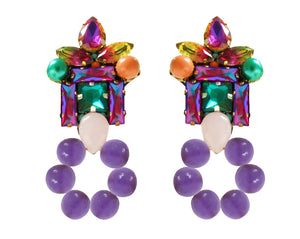 Thea earrings with pearl hoop purple