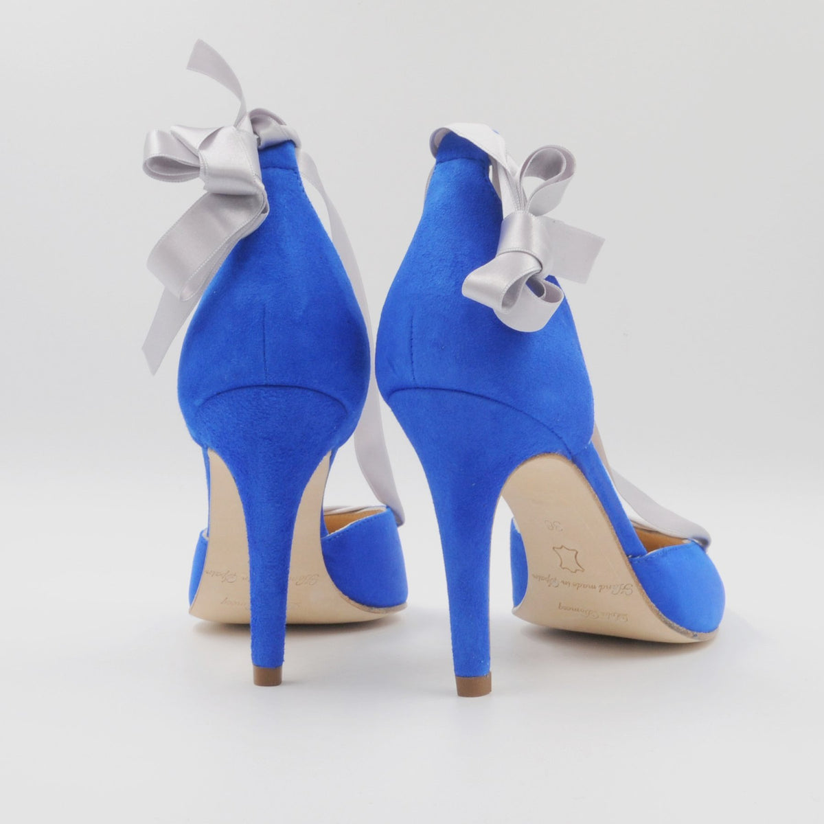 Lola Domecq Sophie In Blue Handcrafted suede lace up high heels