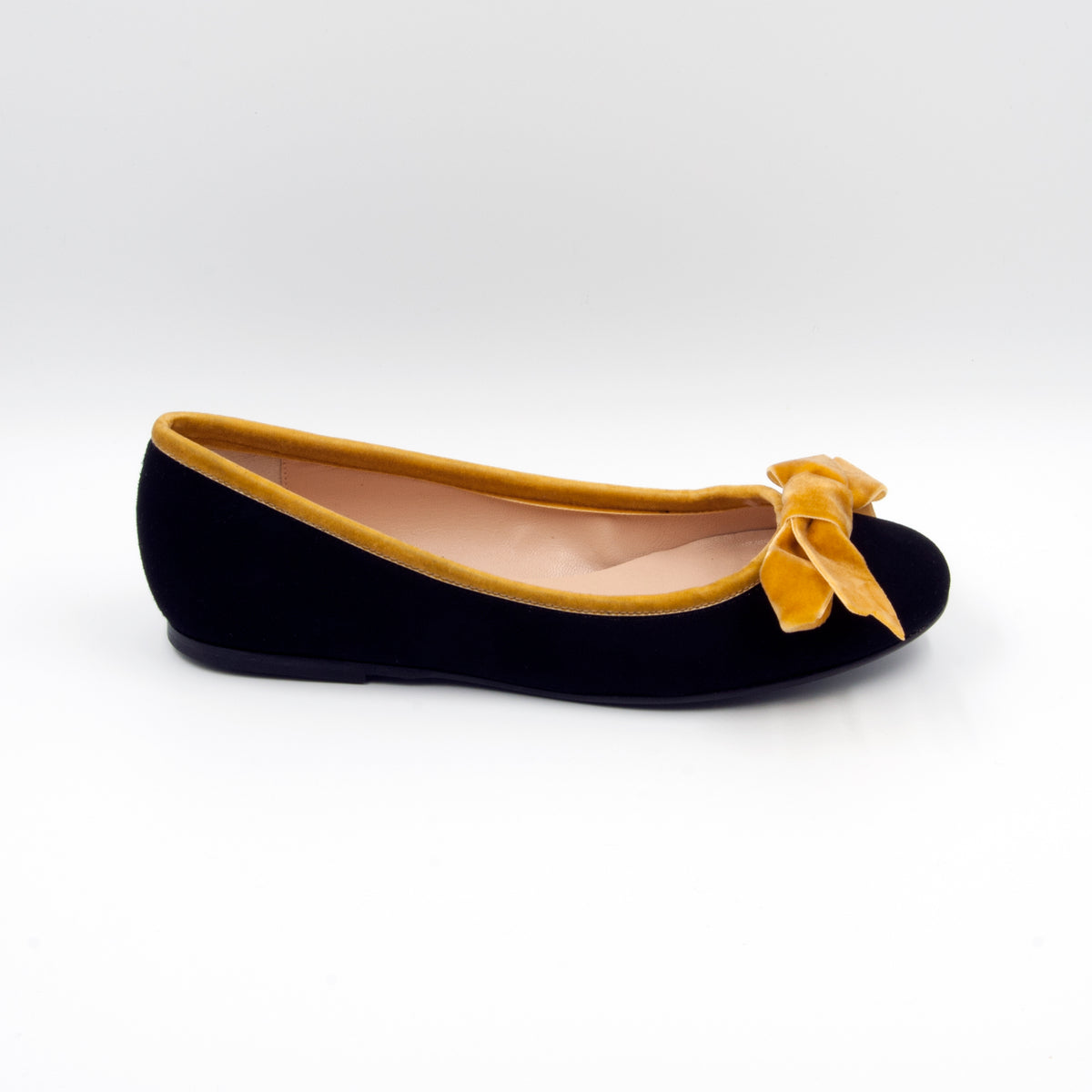 LolaDomecq black hand made ballerina with a touch of gold velvet