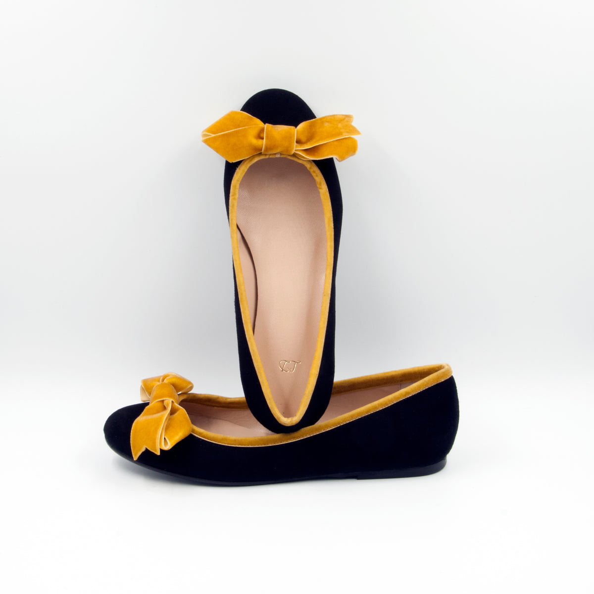 Lola Domecq Black suede ballerinas made in Spain