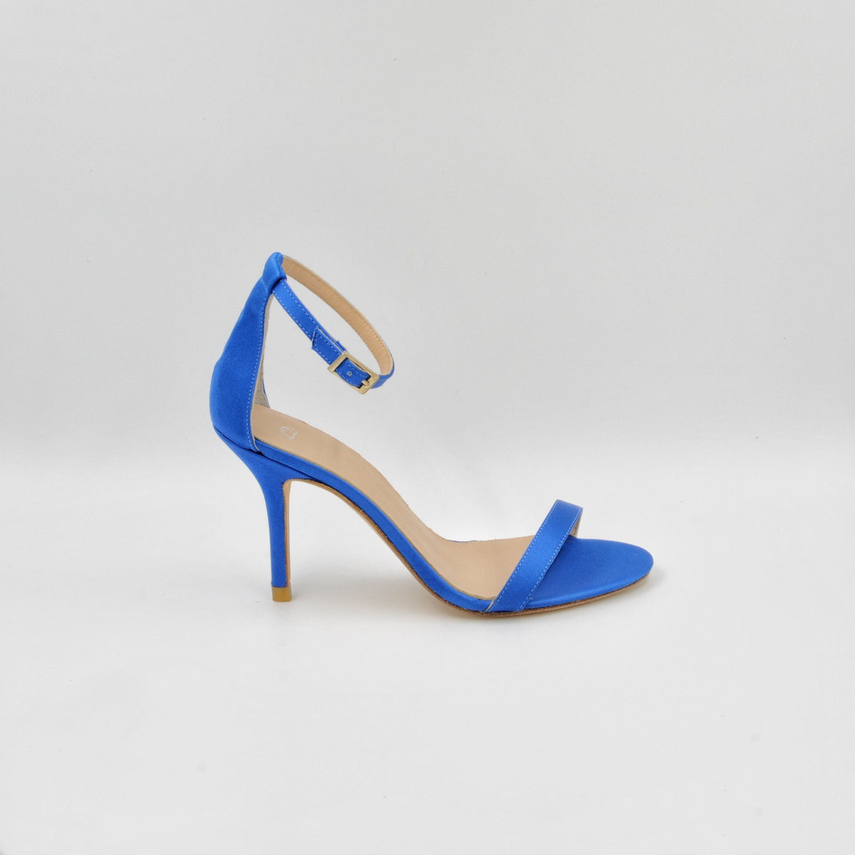 Lola Domecq Alejandra In Blue Hand made satin sandal