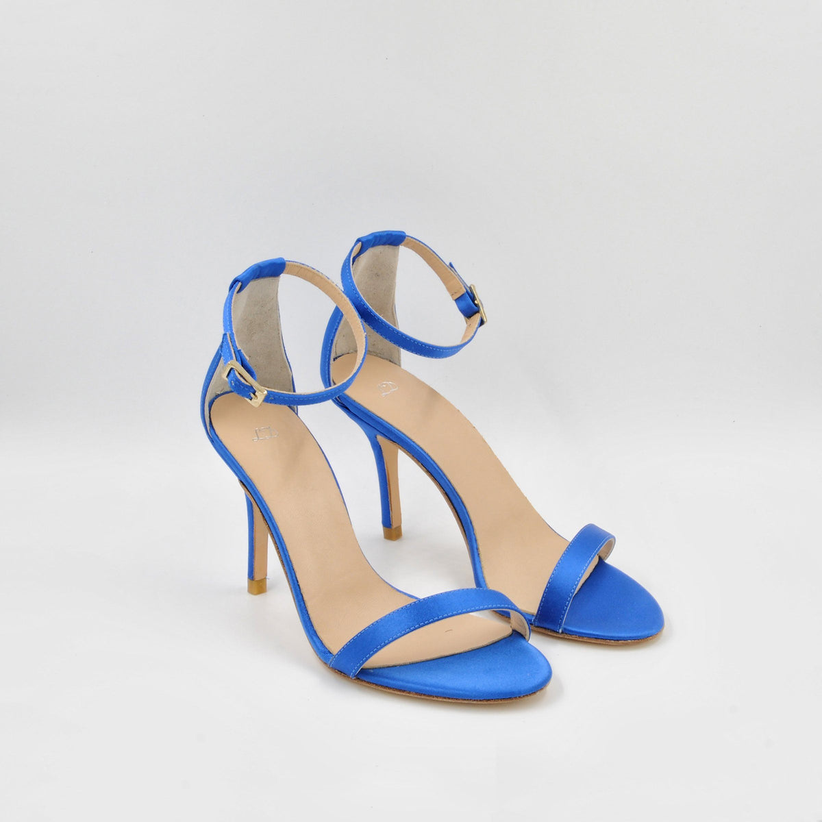 Lola Domecq Alejandra In Blue Hand made wedding satin sandals