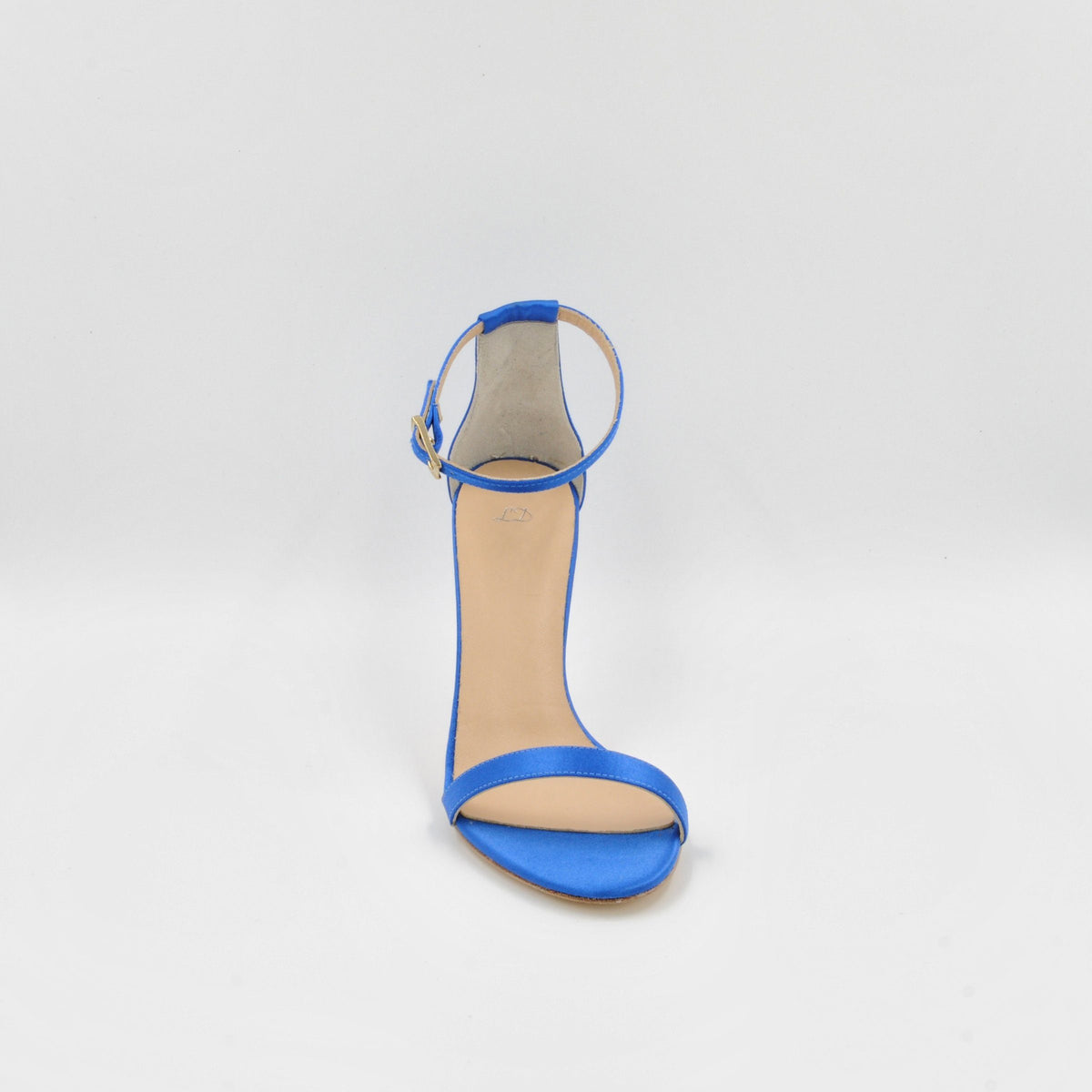 Lola Domecq Alejandra In Blue Handmade satin sandals
