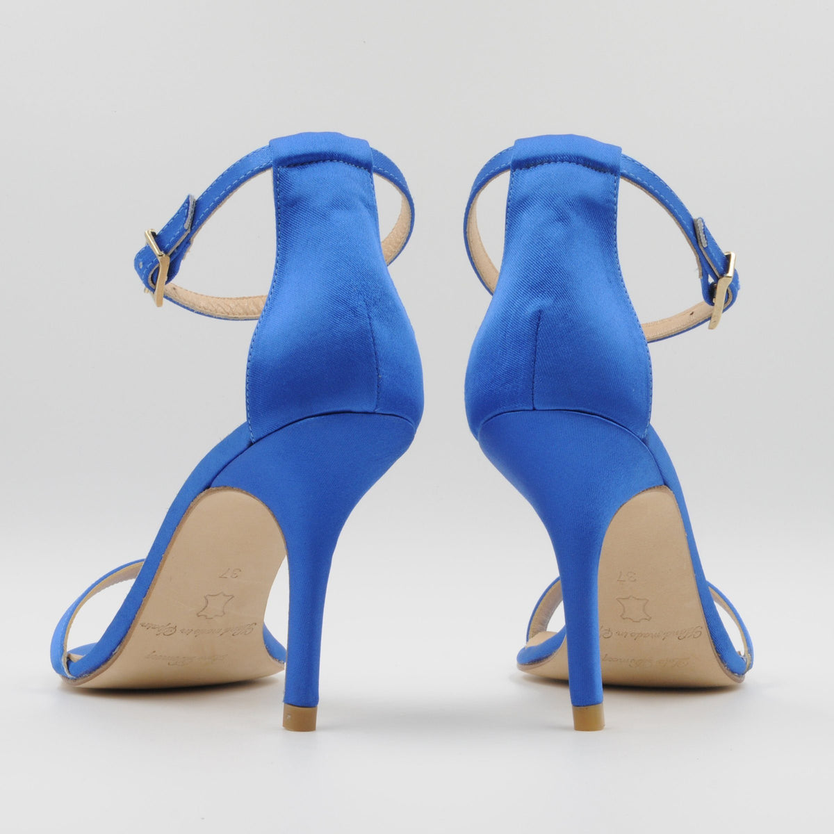 Lola Domecq Alejandra In Blue Hand made satin stilettos