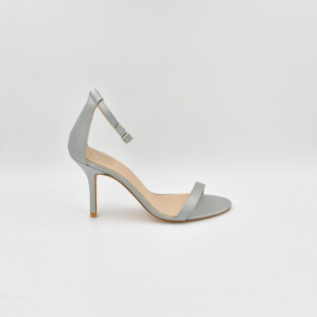 Lola Domecq Alejandra In Silver Hand made satin sandal