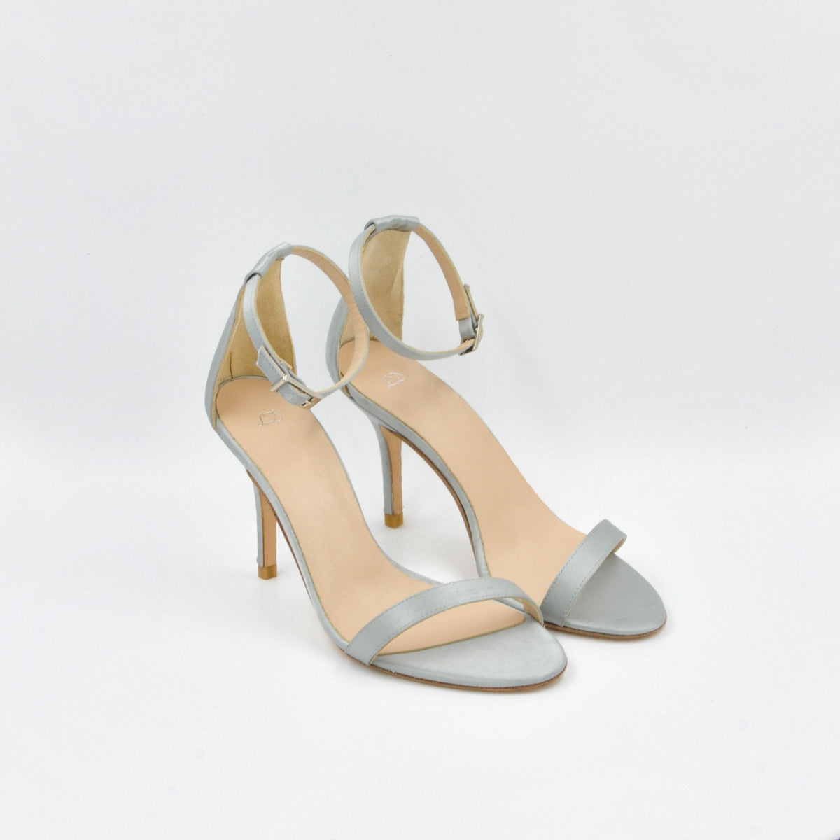 Lola Domecq Alejandra In Silver Hand made satin sandals for marriage