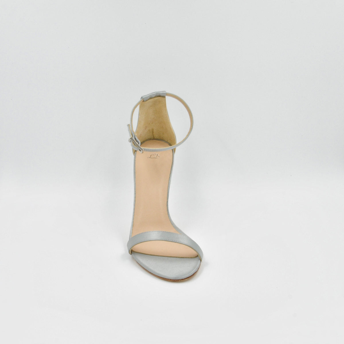 Lola Domecq Alejandra In Silver Handmade satin sandal for wedding