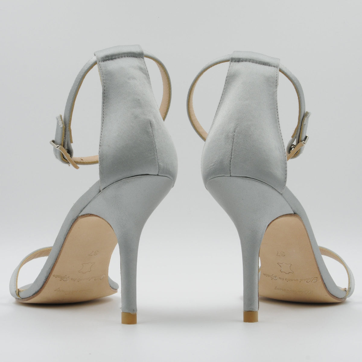 Lola Domecq Alejandra In Silver Handcrafted satin stilettos bridal