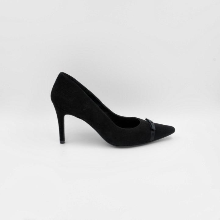 Lola Domecq Priscila In Black Hand made suede heel