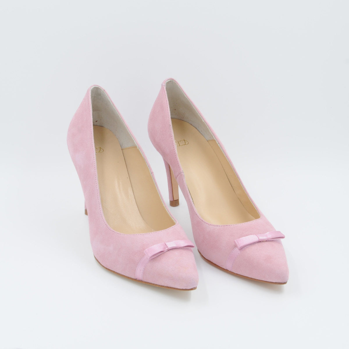Lola Domecq Priscila In Pink Hand made suede heels