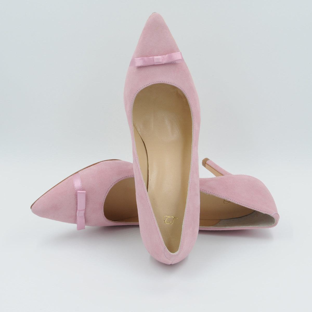 Lola Domecq Priscila In Pink Hand made bow suede stilettos