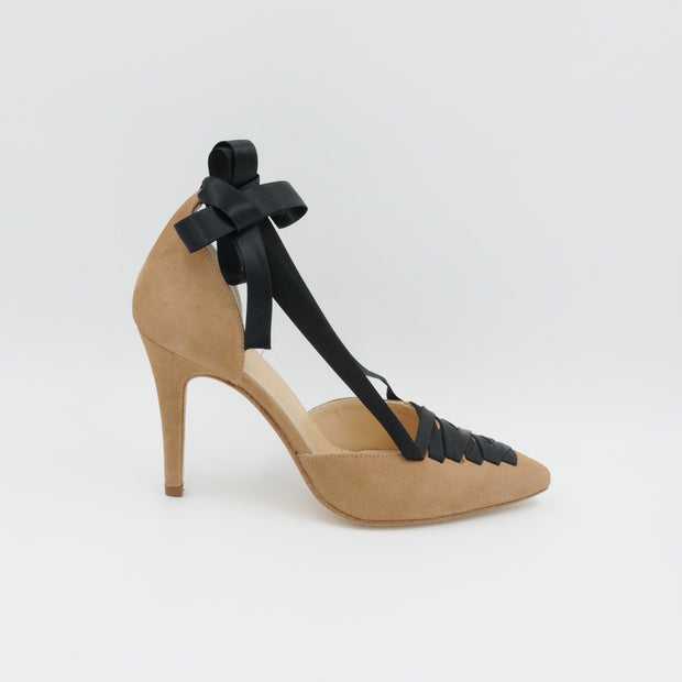 Lola Domecq Sophie In Beige Hand made suede heel