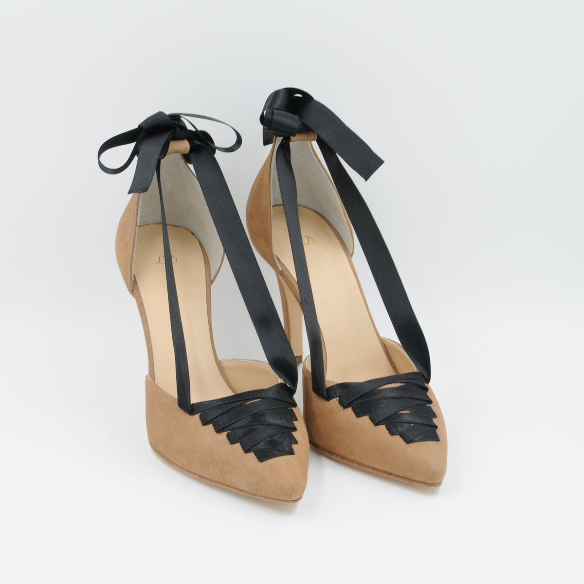 Lola Domecq Sophie In Beige Handmade suede lace up heels