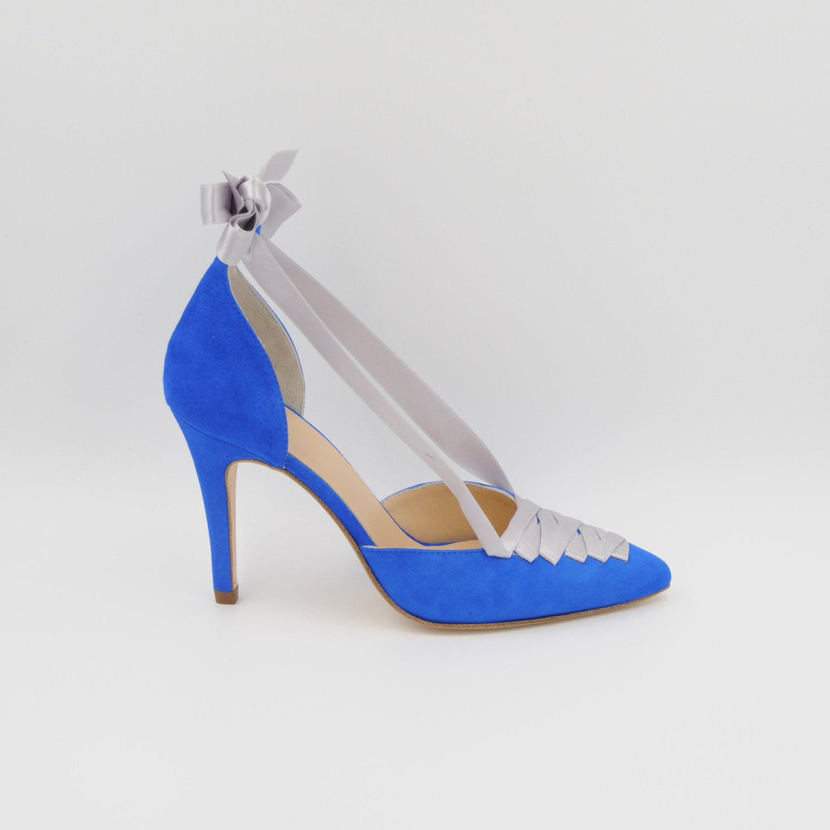 Lola Domecq Sophie In Blue Hand made suede lace up heel