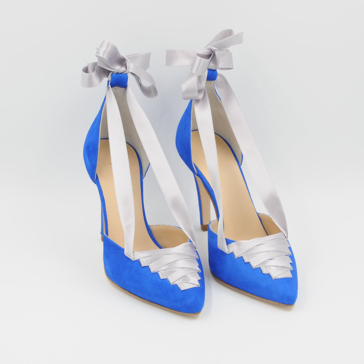 Lola Domecq Sophie In Blue Handmade suede lace-up heels