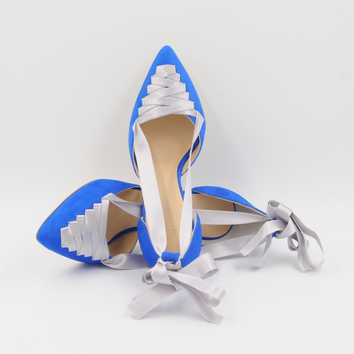Lola Domecq Sophie In Blue Handmade suede lace up stilettos for wedding