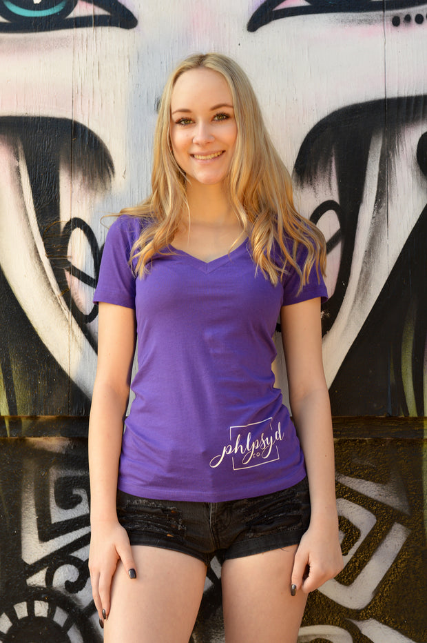 Phlipseyed Flourish Women's V-Neck Tee / Purple Rush