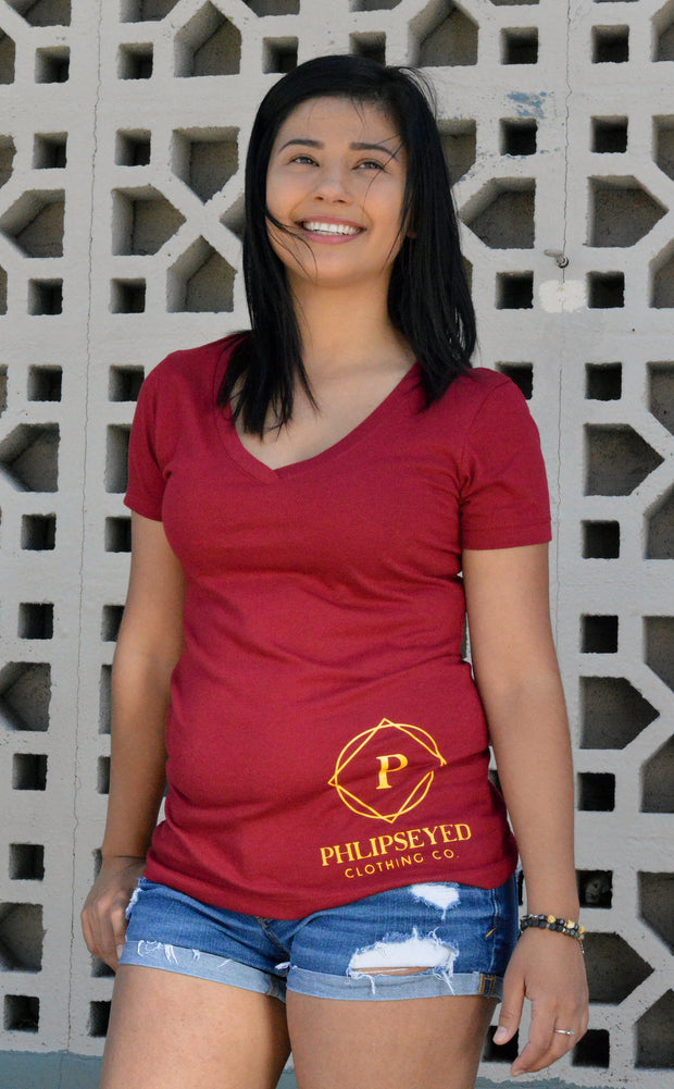 Phlipseyed Sunny Women's V-Neck Tee / Scarlet Red