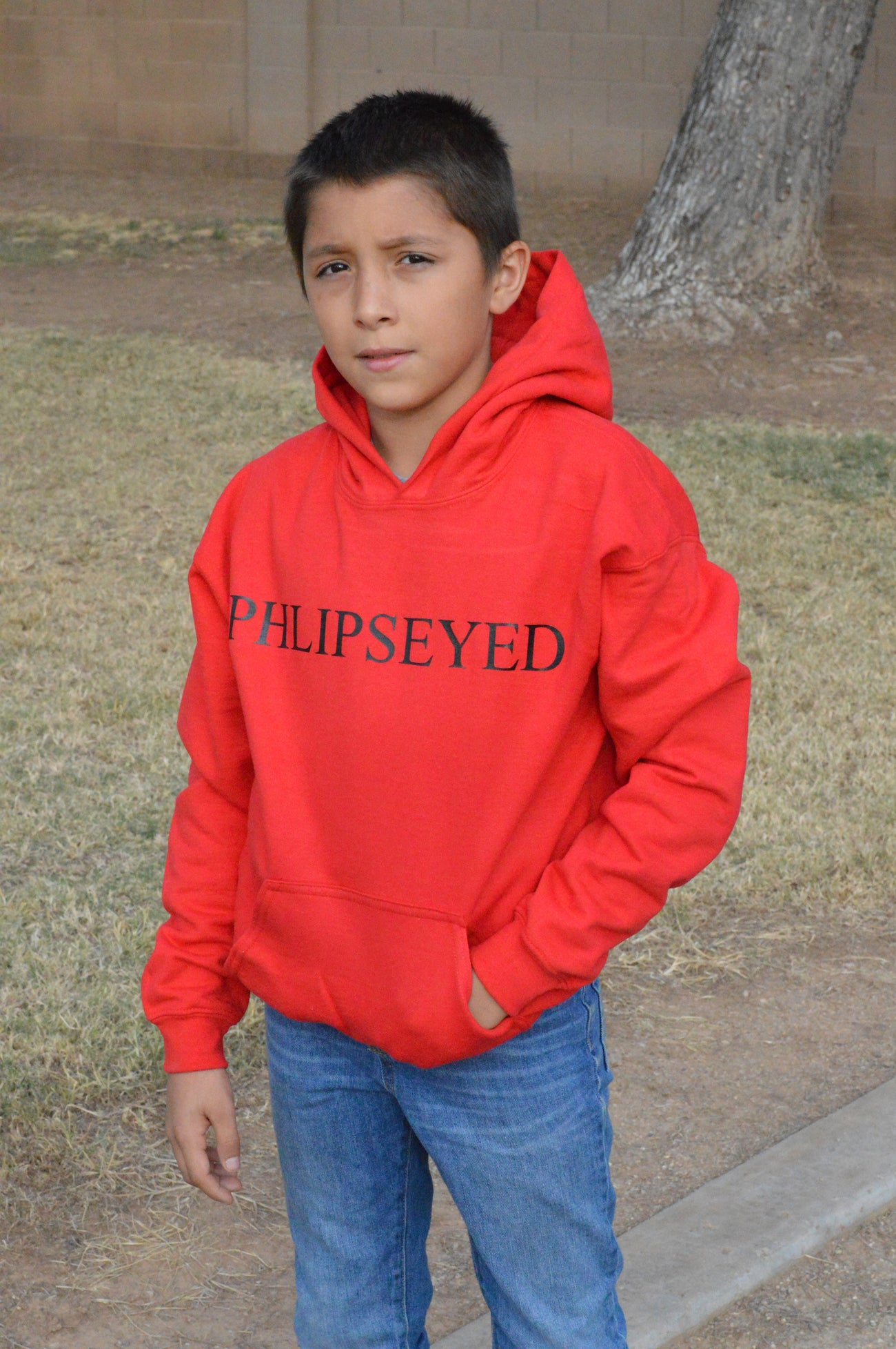 Phlipseyed Classic Youth Hooded Sweatshirt Red/Black
