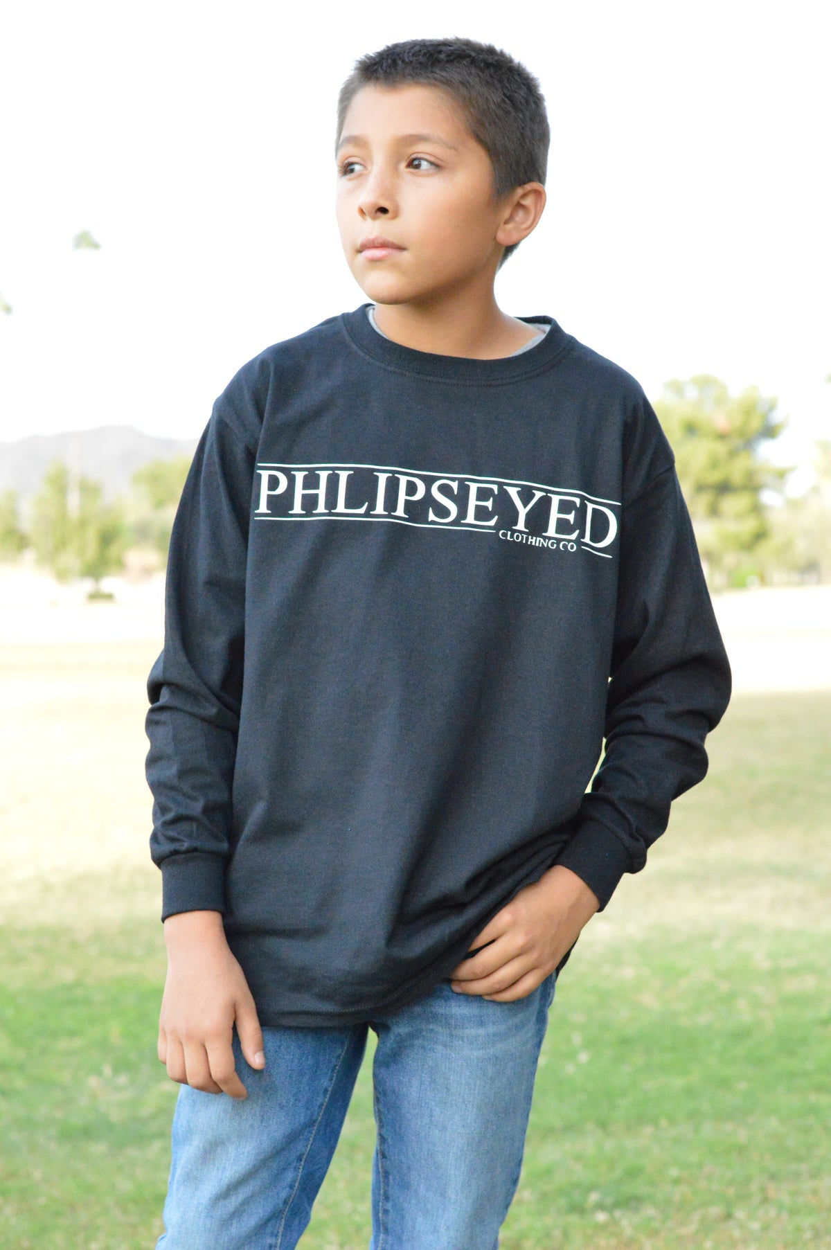 Phlipseyed Classic Youth Long Sleeve Tee Black/White