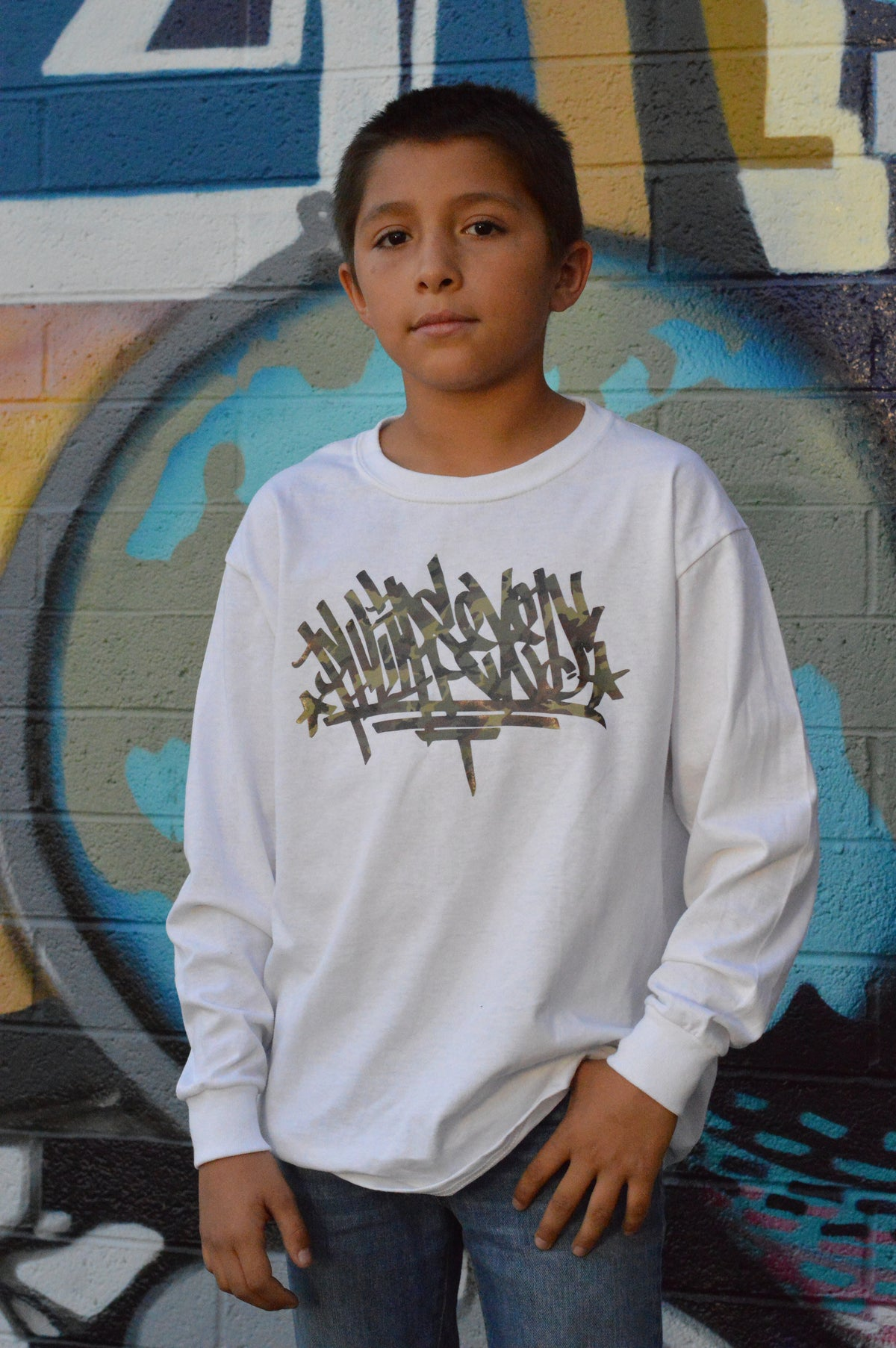 Phlipseyed Post Graffiti Youth Long Sleeve Tee White/Cammo