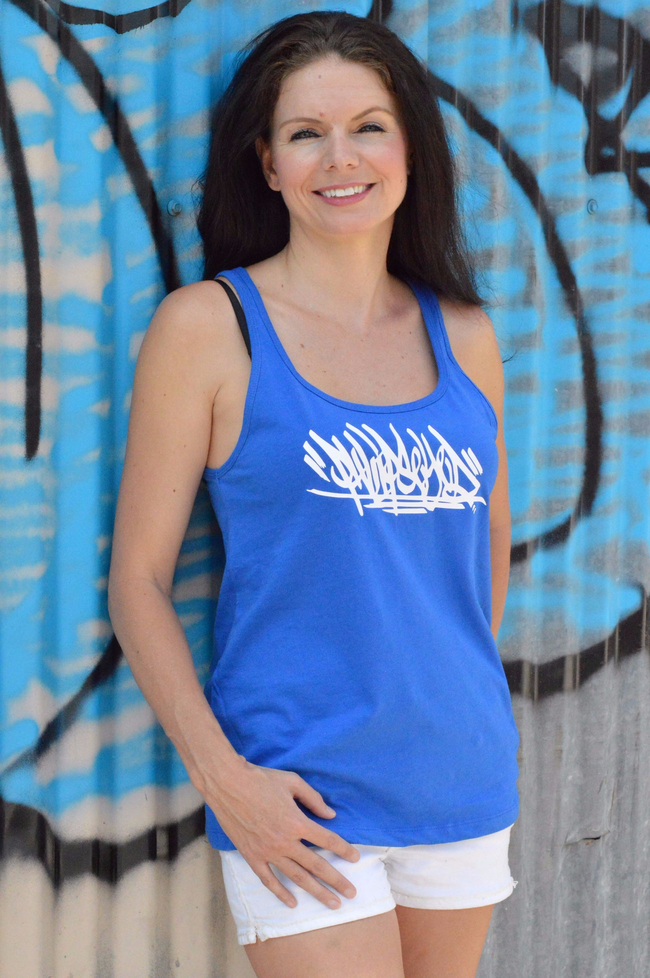 Phlipseyed Brush Graffiti Relaxed Women's Tank / Blue