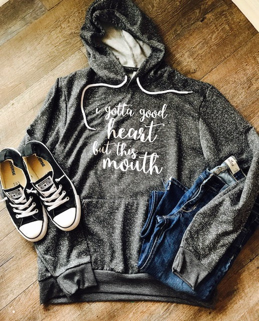 Digital Gray Unisex Bella Hoodie. I Gotta Good Heart But This Mouth Funny saying - Mavictoria Designs Hot Press Express