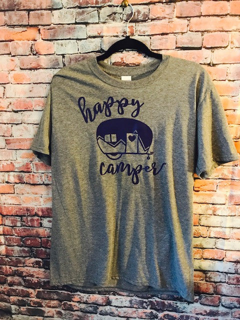 Happy Camper Soft cotton t-shirt purple or green lettering; funny shirt; camping tee; camper - Mavictoria Designs Hot Press Express
