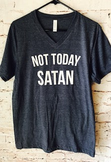 Not today Satan funny bella canvas navy blue vneck super soft tshirt. custom tee. custom tshirt. custom t-shirt - Mavictoria Designs Hot Press Express