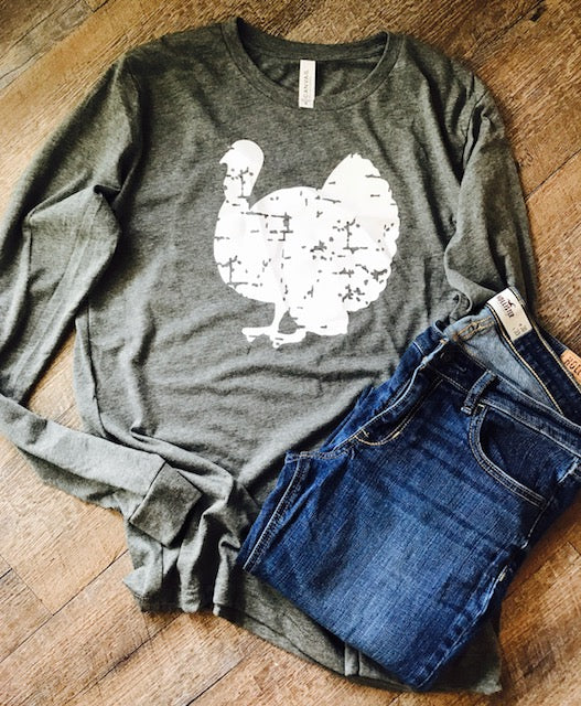 Thanksgiving distressed turkey long sleeve bella canvas shirt. Basic Thanksgiving Shirt. Turkey shirt. - Mavictoria Designs Hot Press Express