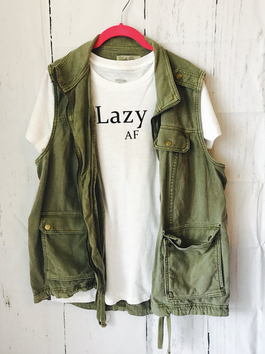 Lazy AF white tee, tshirt, shirt Women's fit - Mavictoria Designs Hot Press Express
