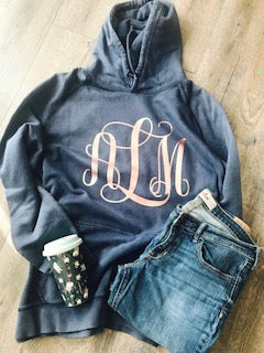 Monogram hoodie navy blue and rose gold. blush and navy hoodie. custom hoodie - Mavictoria Designs Hot Press Express