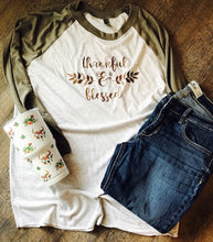 Thankful and Blessed 3/4 sleeve tan and white Raglan. Thanksgiving shirt. Thankful shirt. Blessed shirt. Fall shirt. - Mavictoria Designs Hot Press Express