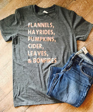 Fall style t-shirt. fall tshirt. fall tee. Flannels, Hayrides, Pumpkins, Cider, Leaves & Bonfires - Mavictoria Designs Hot Press Express