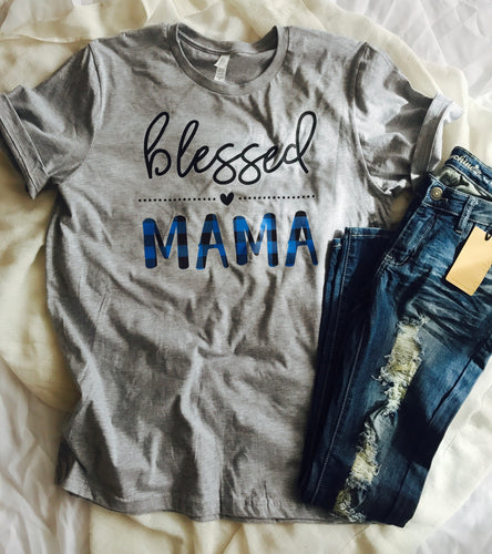 Blessed mama custom tshirt. Bella canvas blue buffalo plaid shirt. Momlife. Motherhood. Mama. Popular. Gift. - Mavictoria Designs Hot Press Express