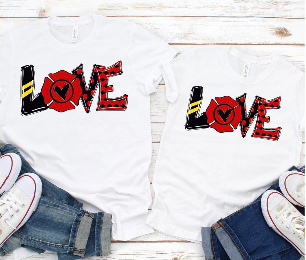 Firefighter love mommy and me or daddy and me graphic tees - Mavictoria Designs Hot Press Express