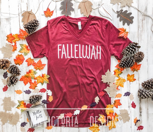 Fallelujah graphic vneck tee - Mavictoria Designs Hot Press Express