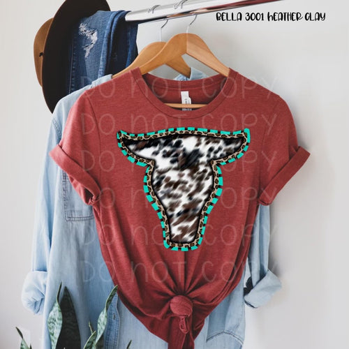 Cowhide leopard turquoise bull skull. H clay graphic hoodie tee crew or long sleeve - Mavictoria Designs Hot Press Express