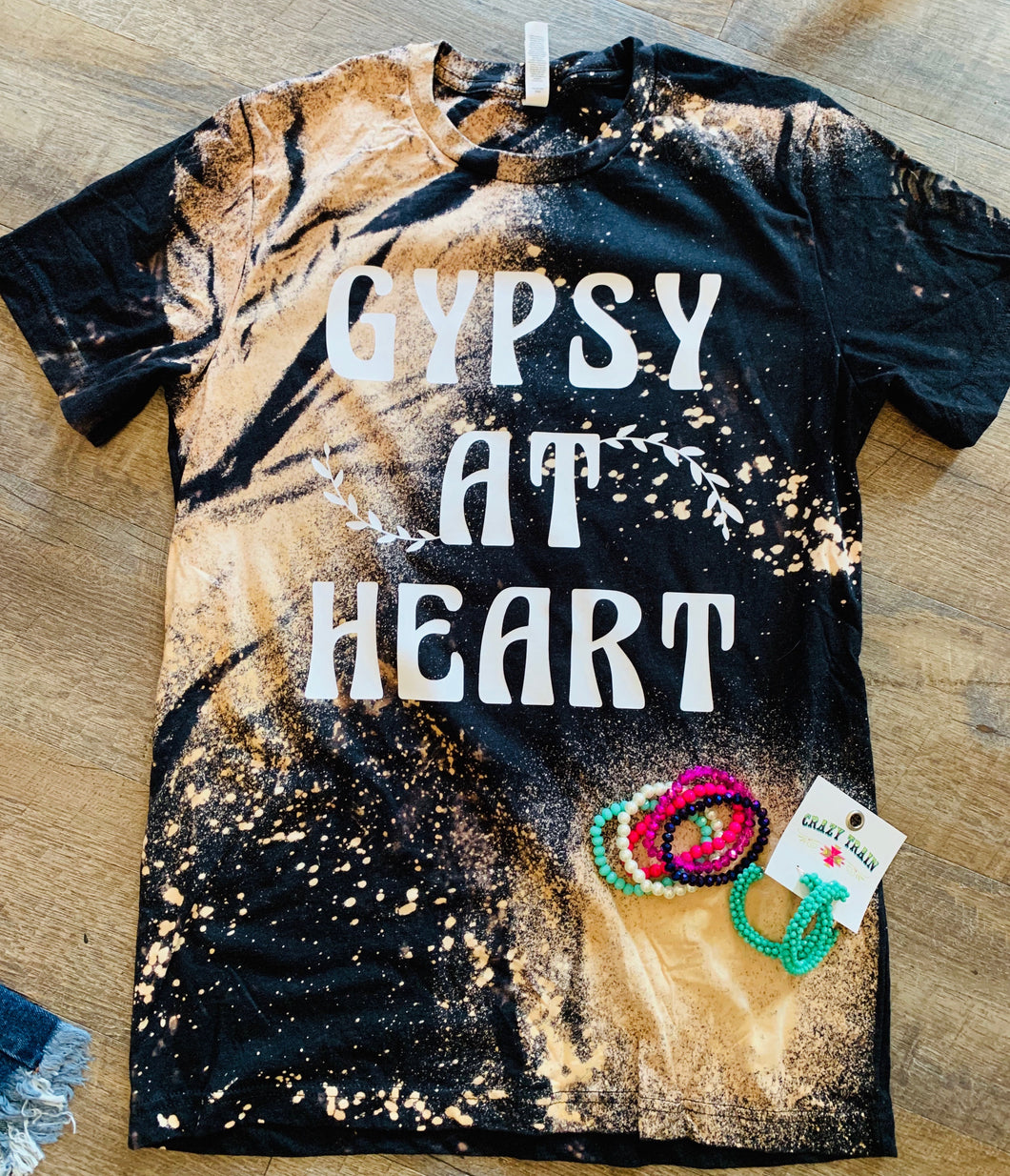Gypsy At Heart. Bleached Tee. - Mavictoria Designs Hot Press Express