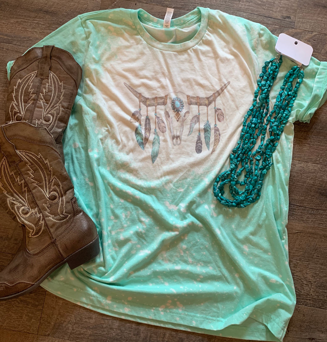 Boho feathered bull skull bleached mint Graphic tee - Mavictoria Designs Hot Press Express