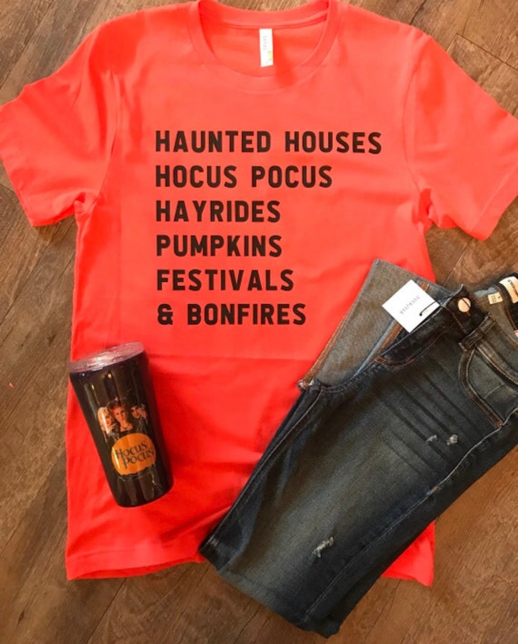 Haunted houses Hocus Pocus hayrides pumpkins festivals and bonfires halloween list graphic tee for fall! - Mavictoria Designs Hot Press Express