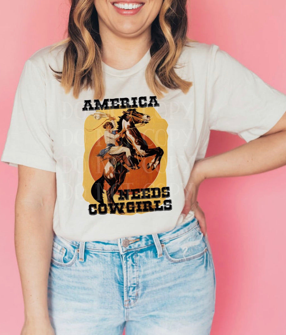 America needs cowgirls graphic tee long sleeve crew or hoodie - Mavictoria Designs Hot Press Express
