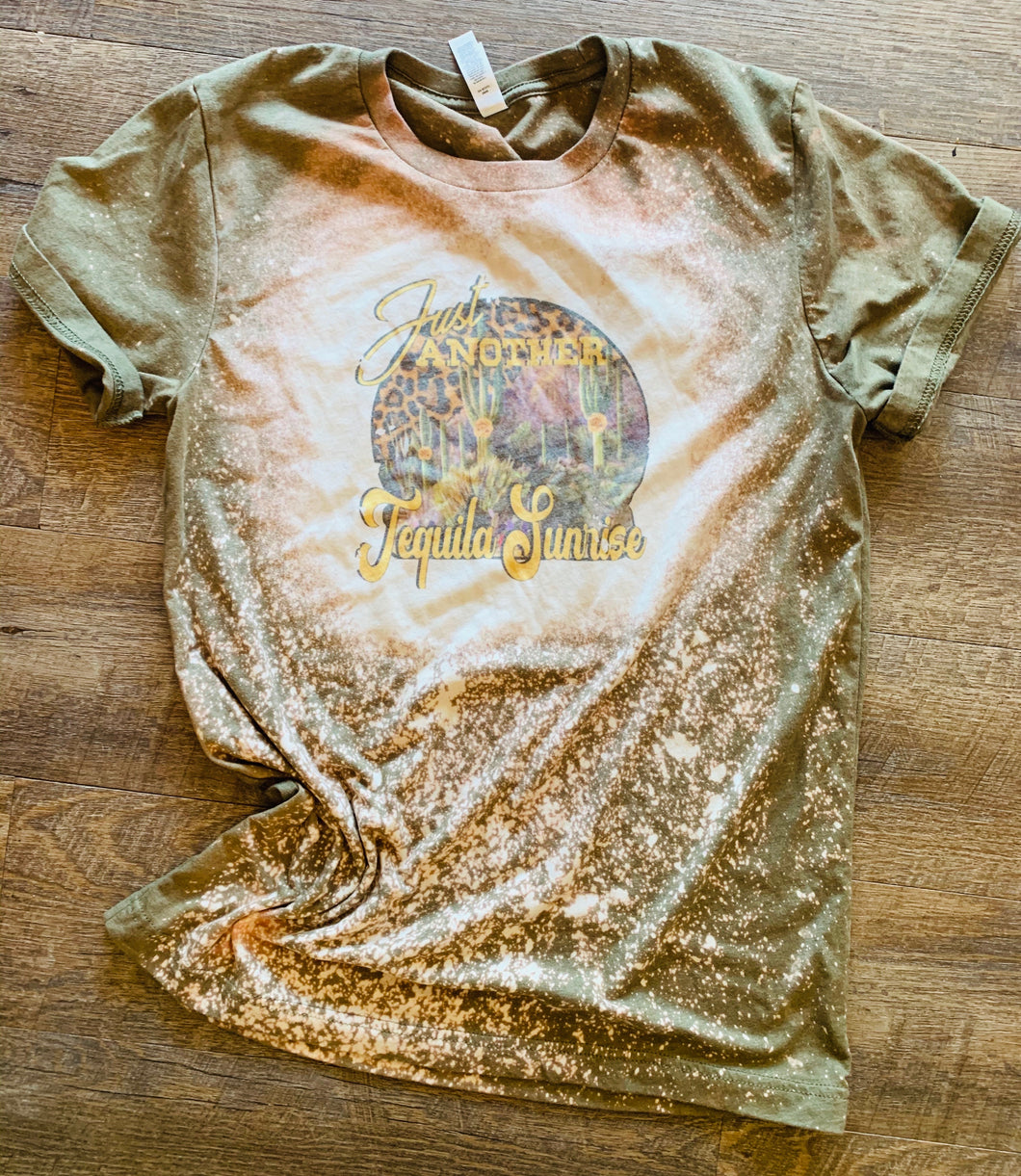 Just Another Tequila Sunrise Bleached Tee - Mavictoria Designs Hot Press Express