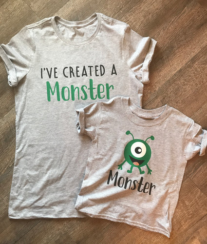 I've Created A Monster Adult tee and monster child tee funny popular mommy and me shirts - Mavictoria Designs Hot Press Express